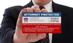 Carry your Self Defense Fund attorney protection card with you at all times