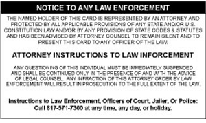 Self defense notice to law enforcement in the event of questioning